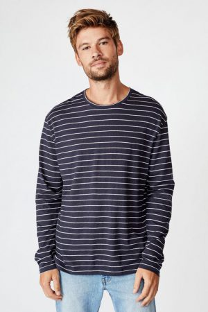 Cotton On T-Shirts | Mens Tbar Premium Ls True Navy/White/Easy Stripe