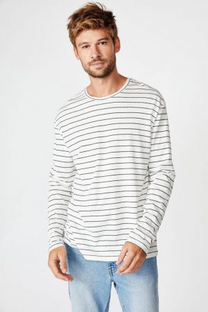 Cotton On T-Shirts | Mens Tbar Premium Ls Vintage White/True Navy/Easy Stripe