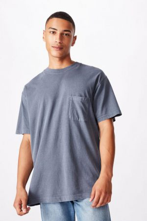 Cotton On T-Shirts | Mens Washed Pocket Tee Dusty Denim