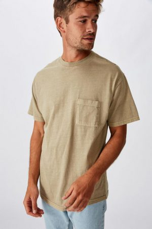 Cotton On T-Shirts | Mens Washed Pocket Tee Gravel Stone
