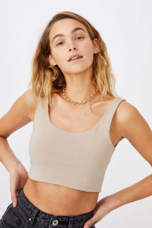 Cotton On Tanks & Camis | Womens Ash Crop Tank Vintage Taupe