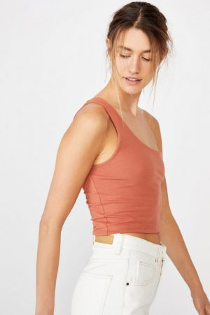 Cotton On Tanks & Camis | Womens One Shoulder Sleeveless Top Dusty Brown