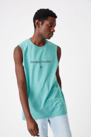 Cotton On Tanks & Singlets | Mens Tbar Muscle Dusty Teal/Strange Paradise Skull