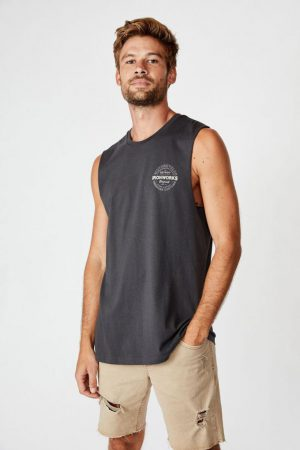Cotton On Tanks & Singlets | Mens Tbar Muscle Faded Slate/Ironworks