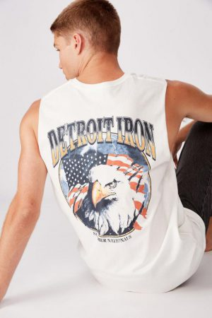 Cotton On Tanks & Singlets | Mens Tbar Muscle Vintage White/Detroit Iron