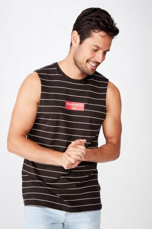 Cotton On Tanks & Singlets | Mens Tbar Muscle Washed Black/Pearl/Modern Edition Stripe