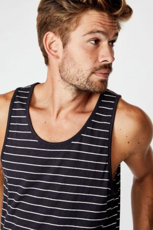 Cotton On Tanks & Singlets | Mens Tbar Tank Ink Navy/Vintage White/Easy Stripe