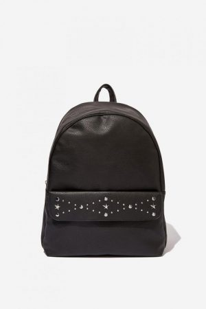Cotton On Bags | Womens Scholar Backpack Black With Star Pattern