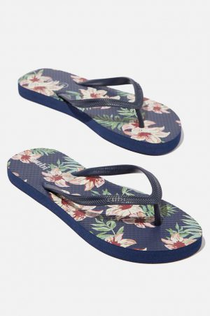 Cotton On Flip Flops | Womens Rubi Thong Painted Tropical Navy