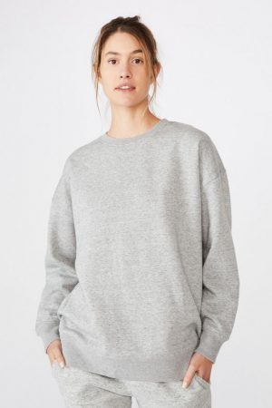 Cotton On Hoodies & Sweatshirts | Womens Dad Peached Maxi Crew Grey Marle