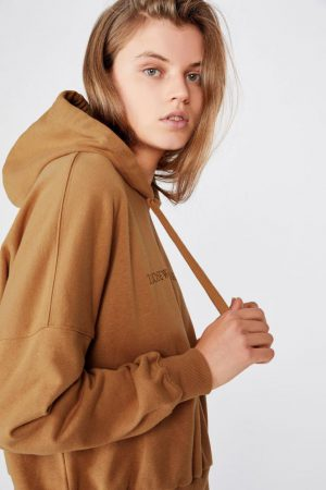 Cotton On Hoodies & Sweatshirts | Womens Harper Boxy Hoodie Graphic Fleece Those Who Wander Biscuit
