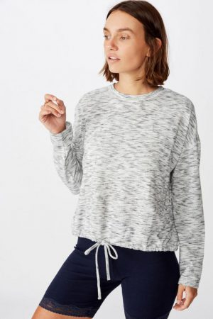 Cotton On Hoodies & Sweatshirts | Womens Super Soft Draw Cord Crew Soft Grey Tonal