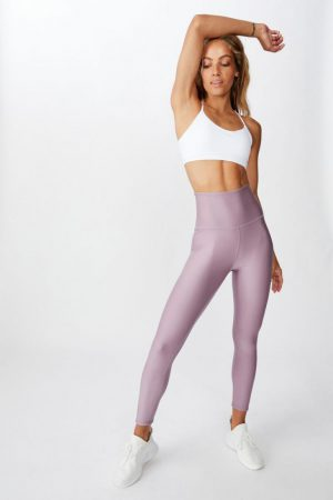 Cotton On Leggings | Womens Reversible 7/8 Tight Animal Fleck Ombre/Faded Grape