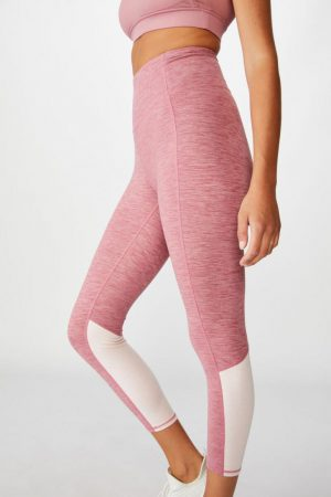 Cotton On Leggings | Womens So Soft Marle 7/8 Tight Washed Rose Marle Splice