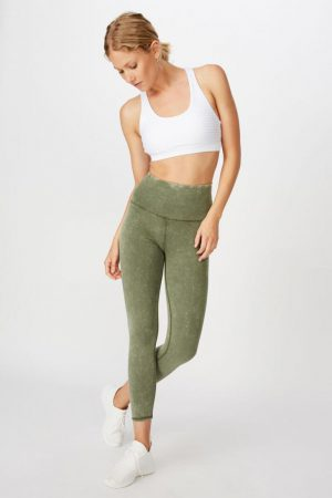 Cotton On Leggings | Womens Washed Back 7/8 Tight Khaki Wash