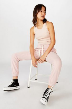 Cotton On Sweatpants | Womens Slim Fit Trackpant Zephyr Garment Pigment Dyed