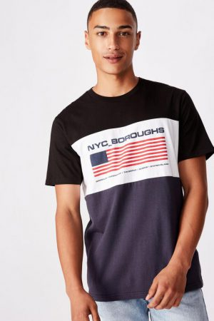 Cotton On Art | Mens Tbar Street T-Shirt Black/White/True Navy/Boroughs Flag