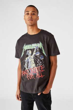 Cotton On Band | Mens Tbar Collab Music T-Shirt Lcn Pro Washed Black/Metallica – And Justice For A
