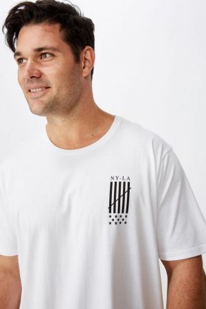 Cotton On Longline | Mens Bg Longline Scoop Hem Tee White/New World Diffusion