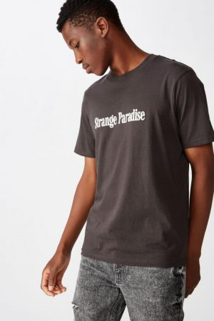 Cotton On Slogan | Mens Tbar Text T-Shirt Sk8 Washed Black/Strange Paradise