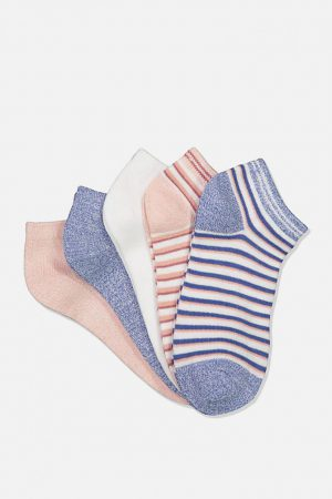 Cotton On Socks | Womens 5Pk Ankle Sock Misty Rose Stripe