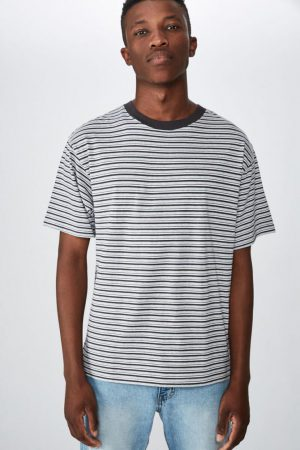 Cotton On T-Shirts | Mens Dylan Tee Grey Marle Sky Stripe