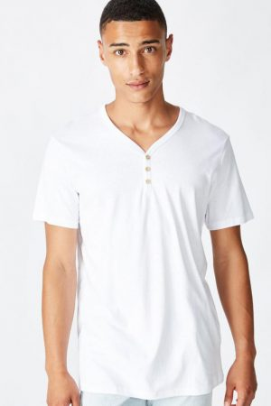 Cotton On T-Shirts | Mens Essential Henley White
