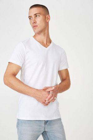 Cotton On T-Shirts | Mens Essential Vee Neck White