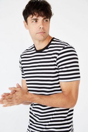 Cotton On T-Shirts | Mens Tbar Premium Crew Black/White/50/50 Stripe