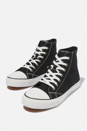 Cotton On Sneakers | Mens Tyler Hi-Top Black/White